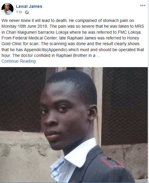 , How Teenage Boy, Raphael James Died of Stomach Pain Due To Doctors' Carelessness In Kogi (Photo), Effiezy - Top Nigerian News & Entertainment Website
