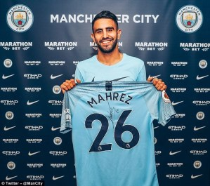 Manchester City completes club record £60m signing of Algerian winger Riyad Mahrez from Leicester City