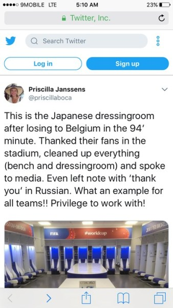 , #BELJPN: See what Japanese footballers did after they lost to Belgium (Photos), Effiezy - Top Nigerian News & Entertainment Website