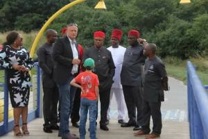 Governor Obiano Inspects A Plastic Bridge In Vienna (Photos)
