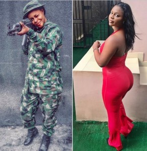 These Stylish Birthday Pics Of Endowed Nigerian Female Soldier Has Got Many Talking (Twerk Video)