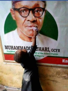 Check out this young girl giving President Buhari Water (Photo)