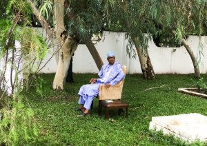 Check out the torn chair President Buhari is sitting on (Photo)