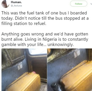 , See What A Commercial Bus In Lagos Uses As Its Fuel Tank (Photos), Effiezy - Top Nigerian News & Entertainment Website
