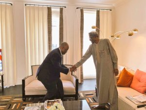 BREAKING: Senator Akpabio meets Buhari in London as former Governor is set to join APC [PHOTOS]