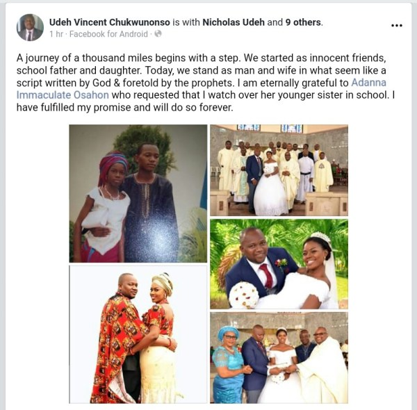 , WOW!!!  School Father Marries His School Daughter Years After They Met In Secondary. (Photos), Effiezy - Top Nigerian News & Entertainment Website