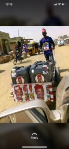 Man Campaigning For Kwankwaso With Bicycle, Wheelbarrow, Gallons (Photos)