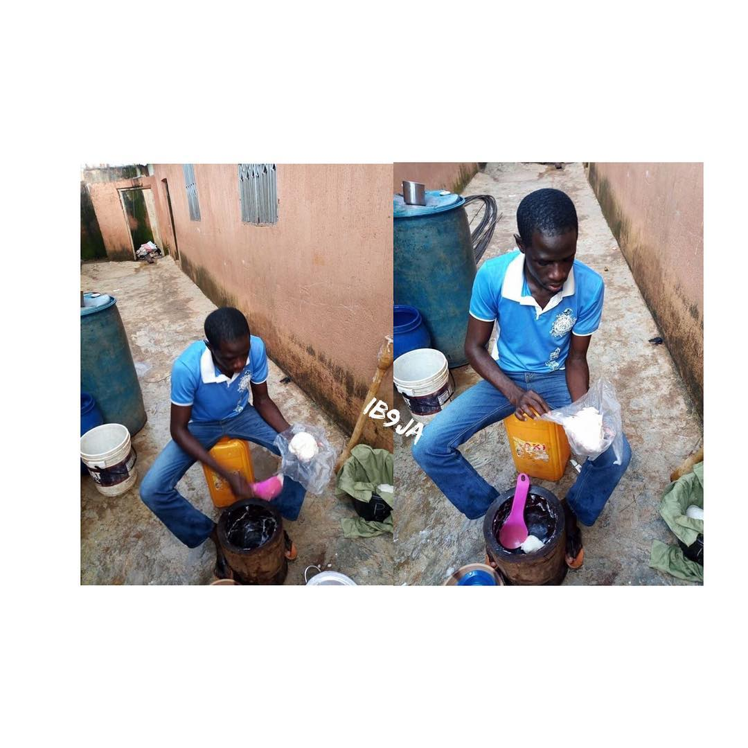 , Corper Wraps Pounded Yam With His Khaki In Jos, Plateau State, Effiezy - Top Nigerian News & Entertainment Website