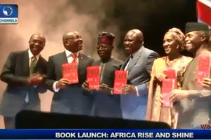 Smiling Ambode Poses Beside Tinubu For A Photo Shoot During Jim Ovia's Book Launch