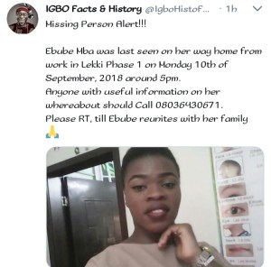 Lady Who Went Missing In Lekki, Escapes from Kidnappers/Ritualist Den (Photo)