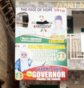Adamawa PDP Aspirant Removes Atiku's Picture From Poster (Photos)