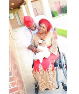 Physically challenged blogger, Lizzy Omoragbon dedicates her daughter in church (Photos)