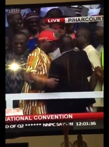 See The Moment Wike Pushed A Man Out Of His Way & Stormed Out Of PDP Convention Venue (Video)