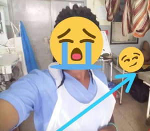Nurse Takes Selfie With Naked Pregnant Lady In The Background (Photo)