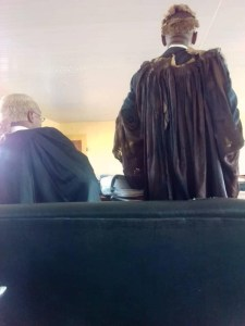 See the torn gown and wig a senior Nigerian lawyer wears to court (Photos)