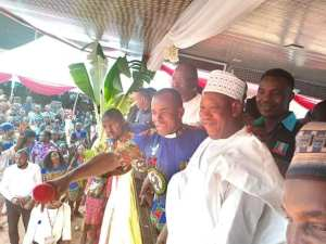 Governor Ganduje Spotted At Father Mbaka's Church Program In Enugu. (Photos & Video)