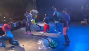 Watch Ghanaian Artiste Throws Plantain, Yam And Hens To Crowd On Stage (Video)
