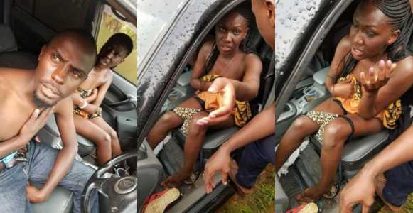 Couple caught having sex in a car, embarrassed by residents (photos)