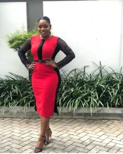BBnaija Bisola Aiyeola Stuns In Red And Black Dress (Photo)
