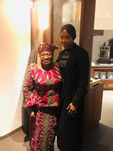 Naomi Campbell pictured with Ngozi Okonjo-Iweala in Davos 2019
