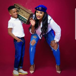 Actress Angela Okorie And Her Son All Swagged Up In Jeans (PHOTO)