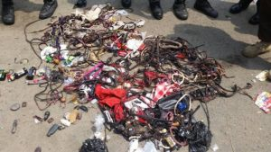Charms And Weapons Recovered From Thugs At APC Rally In Lagos (Photos)