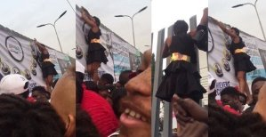 Nigerian Lady turns Spider-girl to beat the massive queue at the BBNaija 2019 Audition in Lagos today. (video)