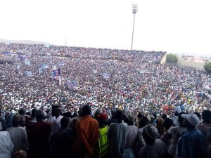 #PMBinGombe: Check out the massive crowd that welcomed Buhari to Gombe State (Photos & Video)