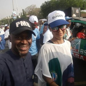 President Buhari's daughter, Zahra seen campaigning for her father in Abuja (Photo)