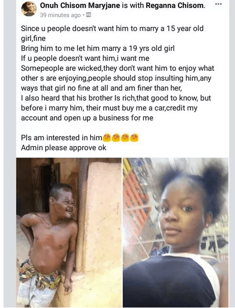 , 19-year old slay queen declares interest in 'demented man' who married a 15-year-old girl in Ozubulu, Effiezy - Top Nigerian News & Entertainment Website