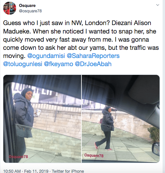 , Nigerian man claims he saw Diezani Maduekwe trekking on the streets of London (Photos), Effiezy - Top Nigerian News & Entertainment Website