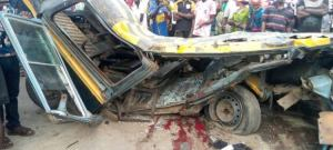 Truck collides with Commercial bus in Lagos, two crushed to death, three injured.