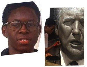 17 year old boy from Nigeria drew President Donald Trump's picture