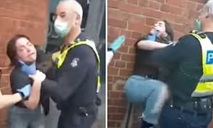 Police violently arrest a woman who refused to obey coronavirus lockdown rules in Melbourne