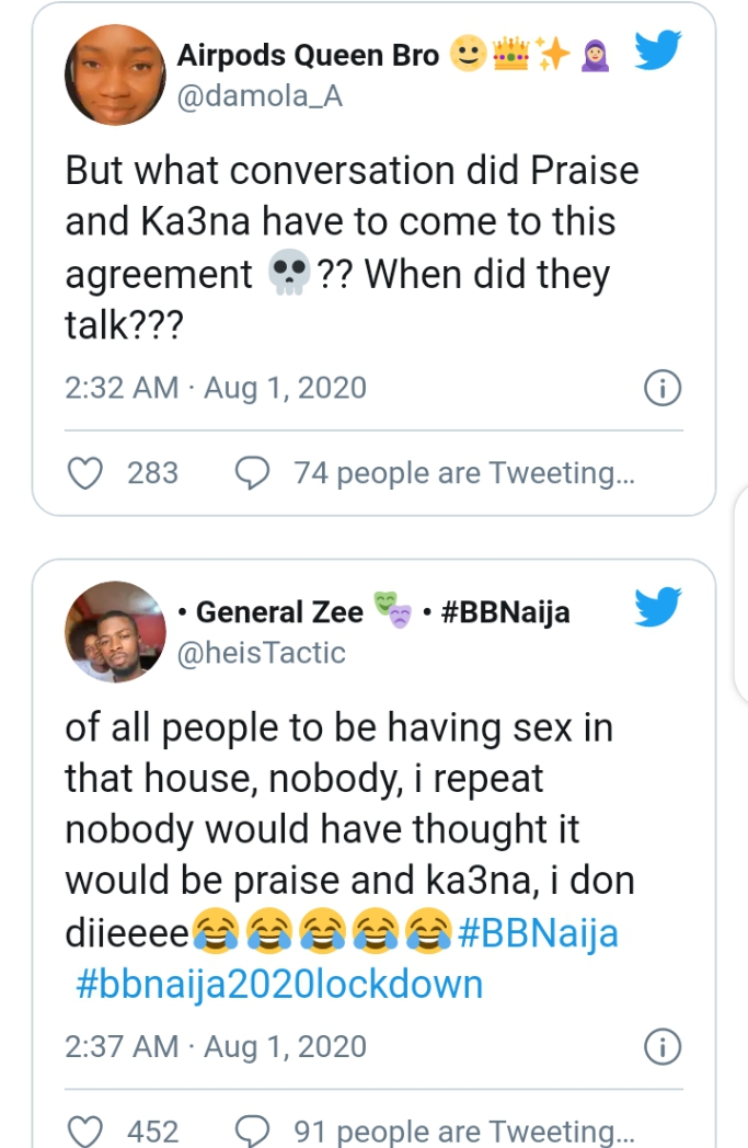 , BBNaija 2020: Nigerians reacts to Praise and Ka3na caught having sex in the house, Effiezy - Top Nigerian News & Entertainment Website
