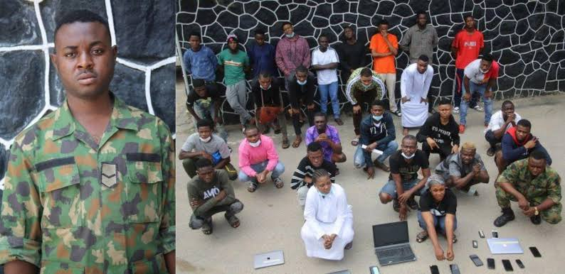 EFCC arrests soldier, 26 others for alleged internet fraud in Lagos