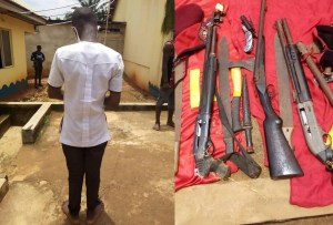 16-year-old Anambra student nabbed with a double-barrel gun in school (Photo)