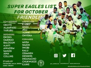 NFF releases Super Eagles list for friendlies against Tunisia & Ivory Coast
