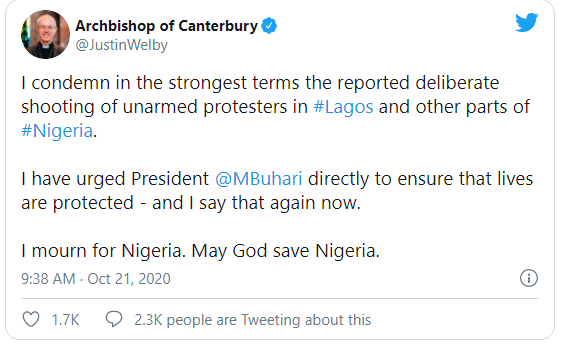 Archbishop Of Canterbury condemns killing of peaceful protesters in Nigeria