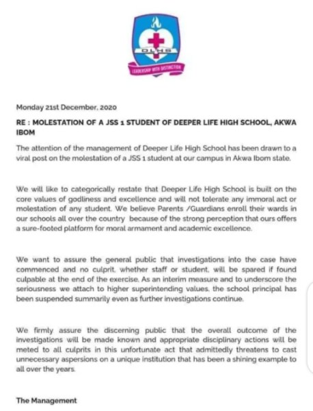 Deeper Life High School responds to alleged maltreatment of student in viral video, suspends principal, Effiezy - Top Nigerian News & Entertainment Website