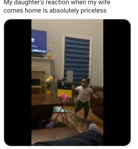 So cute….priceless reaction of kid when she sees her mother is back (video)