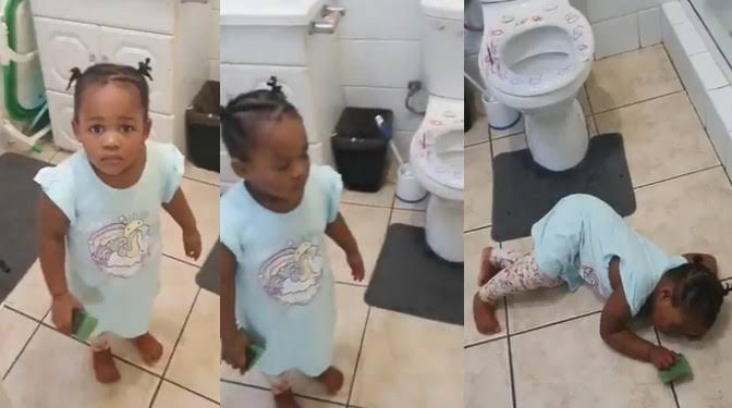 , Little girl fakes having convulsion after her mother caught her messing up the bathroom (video), Effiezy - Top Nigerian News & Entertainment Website