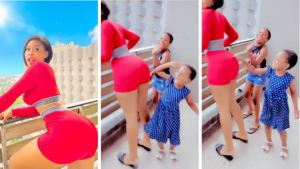Fans blast actress, Chioma Nwaoha, for telling her kids to tap her backside (video)