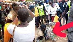 Sad moment as mother who allegedly lost her son three years ago breaks down in tears as she finds him roaming the street as a mad man (video)
