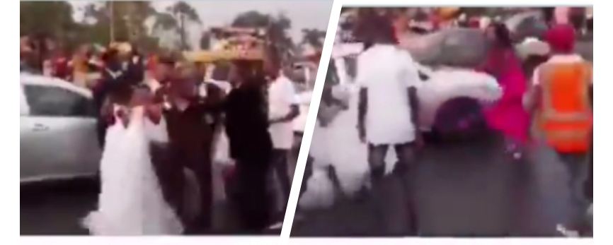 Drama as bride finds out on the way to church that her husband-to-be has been sleeping with her chief bridesmaid (video)