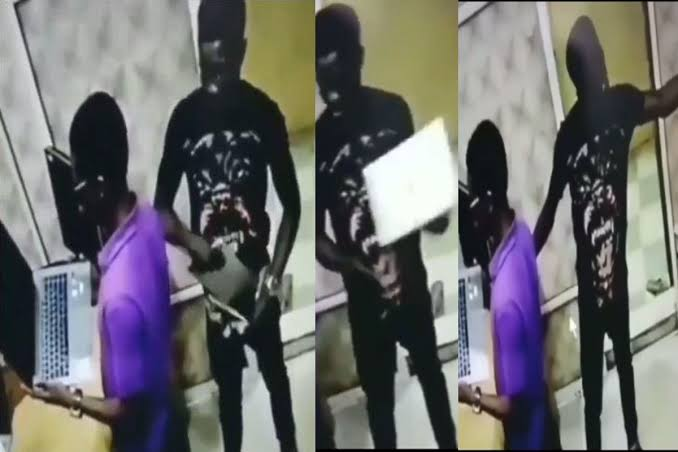 , Man caught on camera stealing a laptop and tucking it into his trouser (video), Effiezy - Top Nigerian News & Entertainment Website
