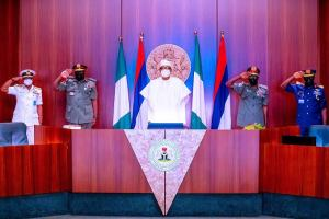 Buhari decorates Service Chiefs with new ranks, issues fresh directives