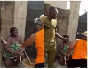 Lady stripped, flogged by another woman for sleeping with married men (video)