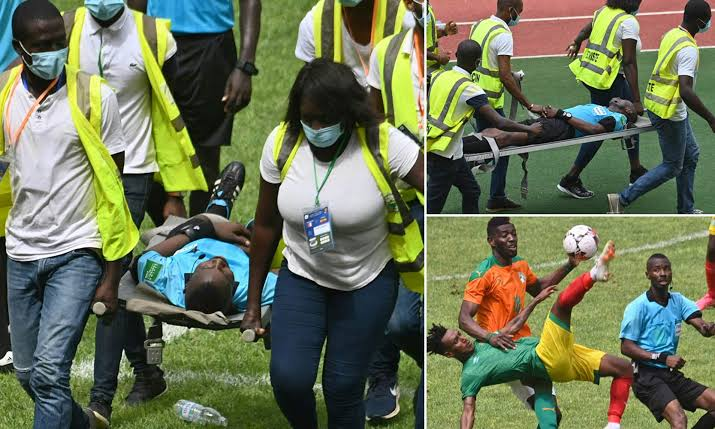 , Referee collapses during Ivory Coast vs Ethiopia AFCON qualifier match, Effiezy - Top Nigerian News & Entertainment Website