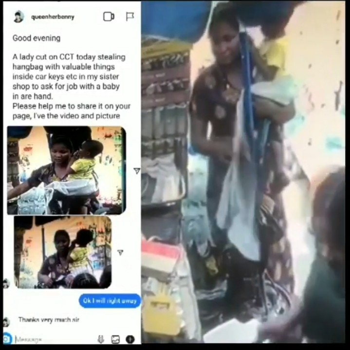 Woman with baby steals, Woman with a baby caught on CCTV stealing a purse (Video), Effiezy - Top Nigerian News & Entertainment Website